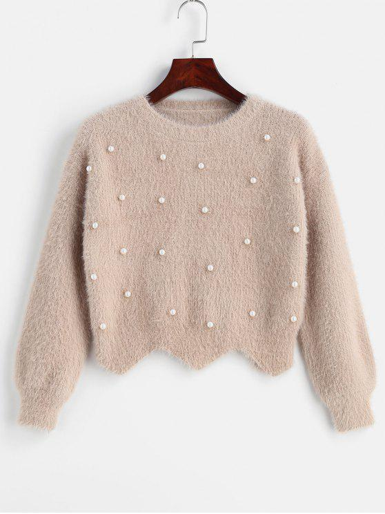 online Scallop Beaded Fuzzy Sweater - APRICOT ONE SIZE