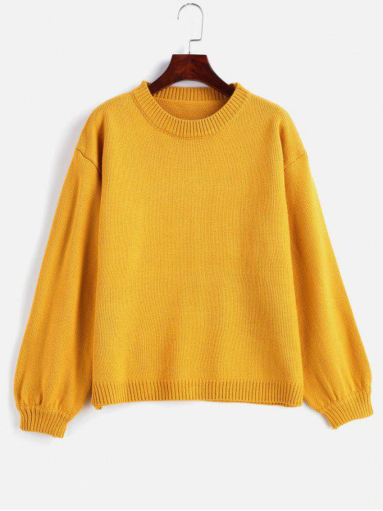 shop Basic Crew Neck Sweater - RUBBER DUCKY YELLOW ONE SIZE