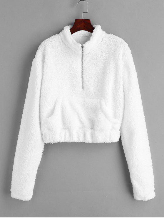 Metade Zip Fluffy Faux Shearling camisola Teddy - Branco L