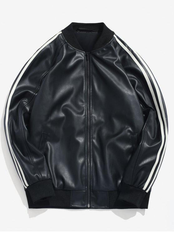 online Side Stripe PU Leather Bomber Jacket - BLACK M