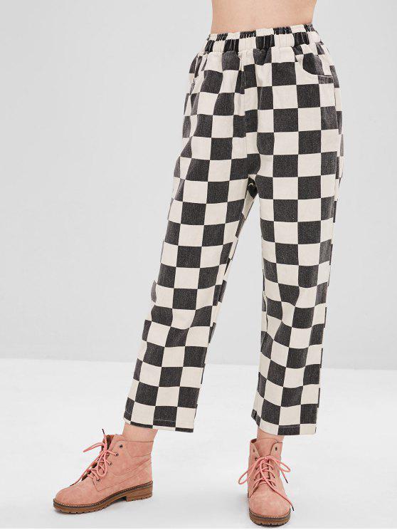 Pantaloni Larghi A Quadretti A Vita Alta - Multi Colori Taglia unica
