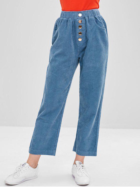 Pantaloni In Velluto A Coste Con Bottoni - Blu Koi Taglia unica
