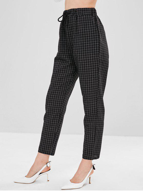 shops High Waist Checkered Drawstring Pants - BLACK M