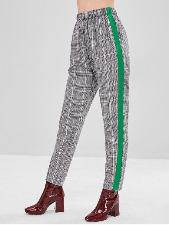 Pantalon droit à carreaux à rayures latérales - Noir M