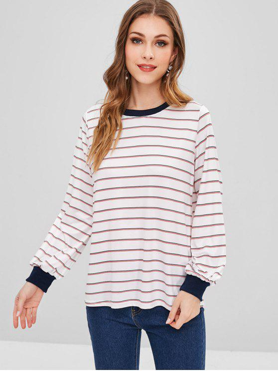 Sweat-shirt Rayé Contrasté - Blanc XL