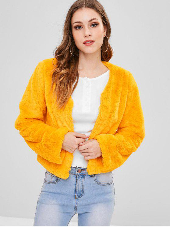 shops ZAFUL V Neck Plain Faux Fur Coat - BRIGHT YELLOW L