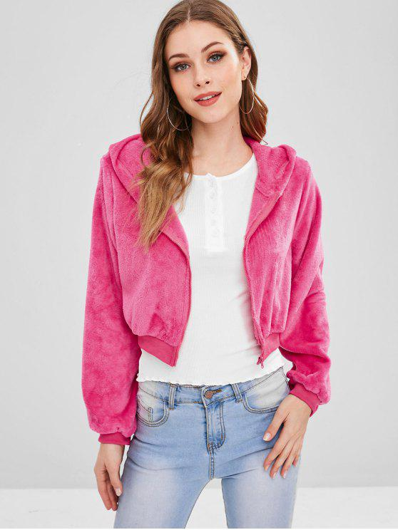 chic ZAFUL Zip Up Crop Fluffy Hooded Jacket - ROSE RED L