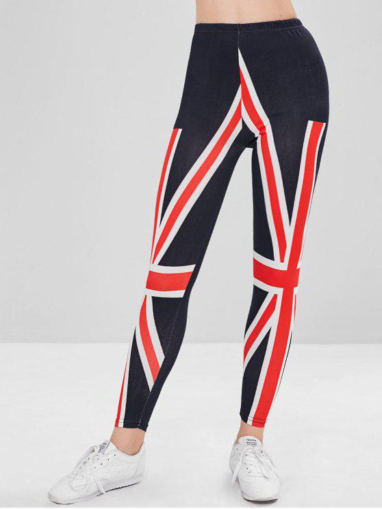 chic Union Jack Print Mid Waisted Leggings - MIDNIGHT BLUE ONE SIZE