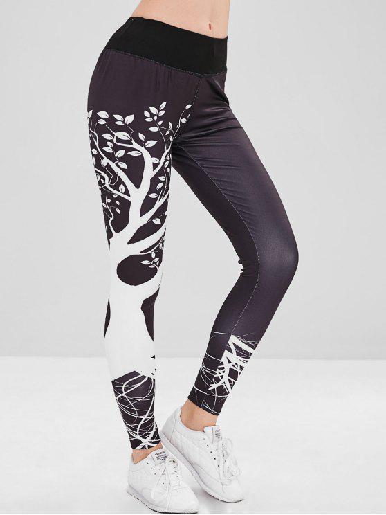 affordable Tree Print Mid Waisted Tights Leggings - BLACK XL