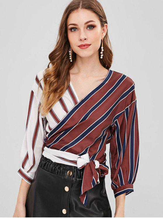 affordable Striped Color Block Wrap Blouse - MULTI-A M