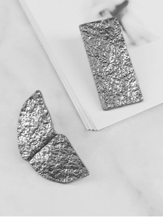 Brincos de design de liga de assimetria - Prata