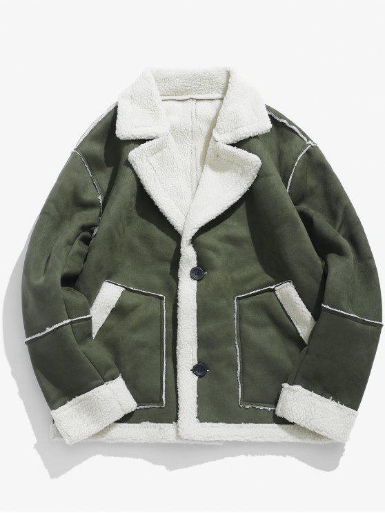 women Suede Fluffy Lined Jacket - ARMY GREEN L