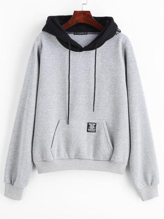 hot ZAFUL Pouch Pocket Fleece Pullover Hoodie - LIGHT GRAY S