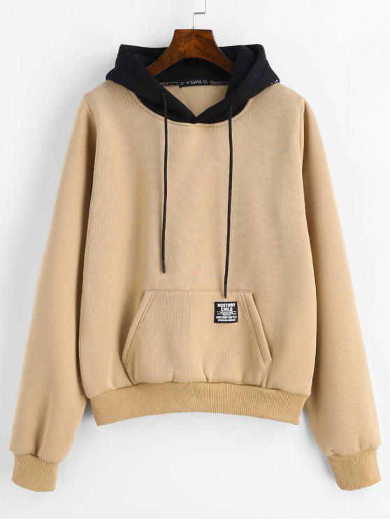 shops ZAFUL Pouch Pocket Fleece Pullover Hoodie - CAMEL BROWN M