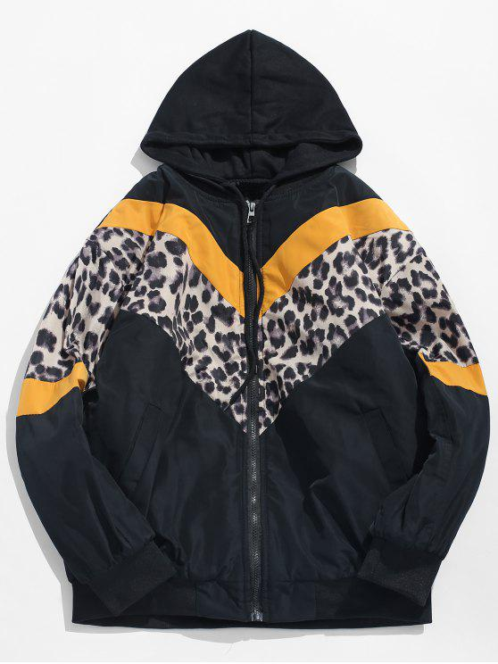 unique Stripe Leopard Patchwork Hooded Padded Jacket - YELLOW L