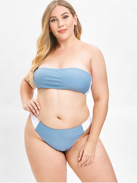91163345d56 24% OFF  2019 ZAFUL Color Block Bandeau Plus Size Bikini Set In BLUE ...