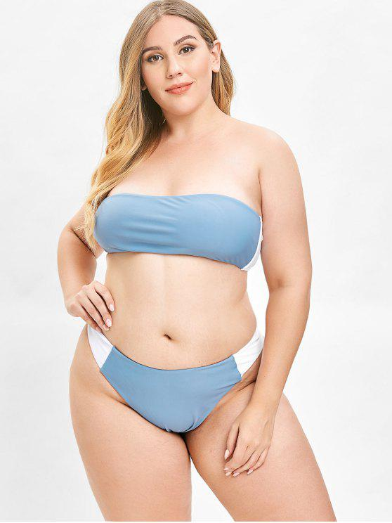 sale ZAFUL Color Block Bandeau Plus Size Bikini Set - BLUE KOI 1X