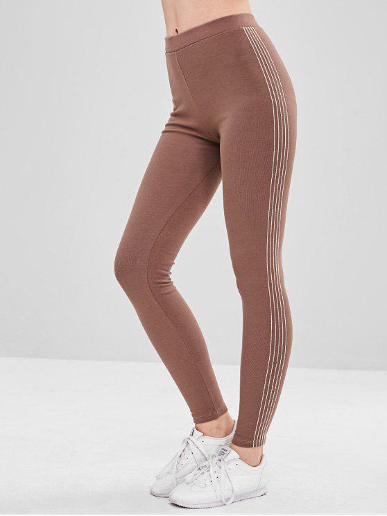 Stripe Trim Fleece Forrado Leggings Elastic - Caqui Escuro Um Tamanho
