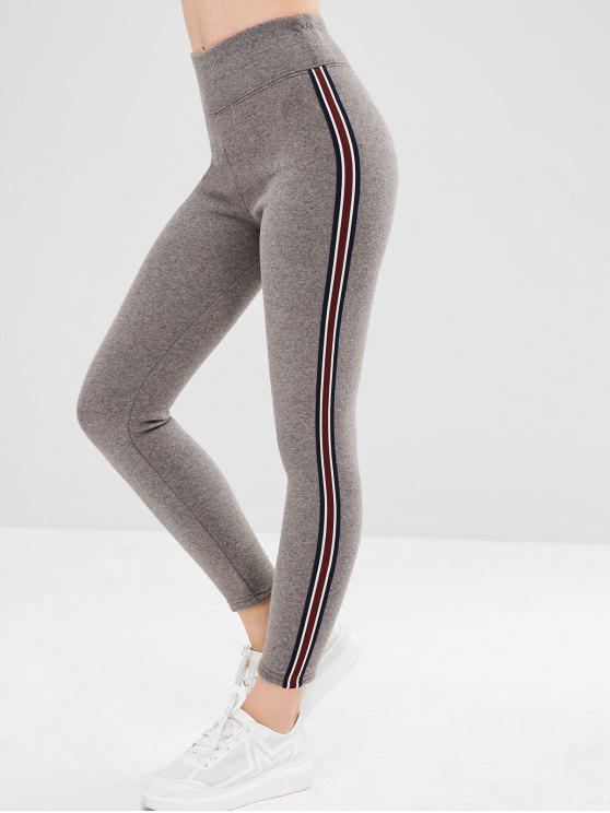 fancy Stripe Trim Fleece Lined Thick Leggings - LIGHT GRAY ONE SIZE