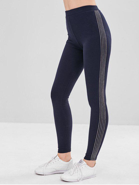 buy Stripe Trim Fleece Lined Elastic Leggings - CADETBLUE ONE SIZE