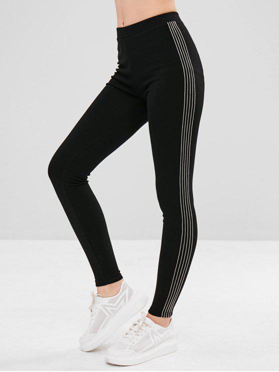 Gefütterte, elastische Leggings mit Streifenbesatz - Schwarz Eine Größe