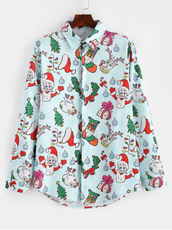 online Santa Candy Gift Print Long Sleeves Christmas Shirt - LIGHT BLUE M