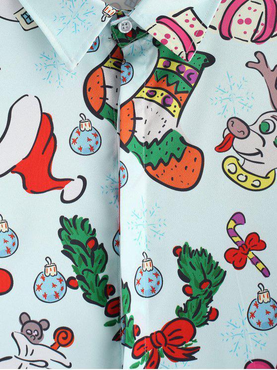 Et Imprimés Léger Noël Cadeau Bonbon LonguesBleu 3xl Chemise Manches À Père 54cRqLj3A