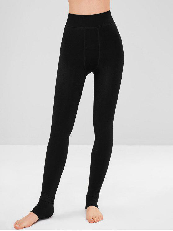 womens High Waist Fleece Stirrup Leggings - BLACK ONE SIZE