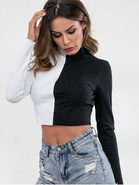 Haut tricoté à deux tons et col montant - Noir S