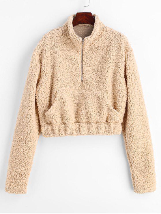 Sweat-shirt molletonné en similicuir pelucheux et demi zippé - Champagne M