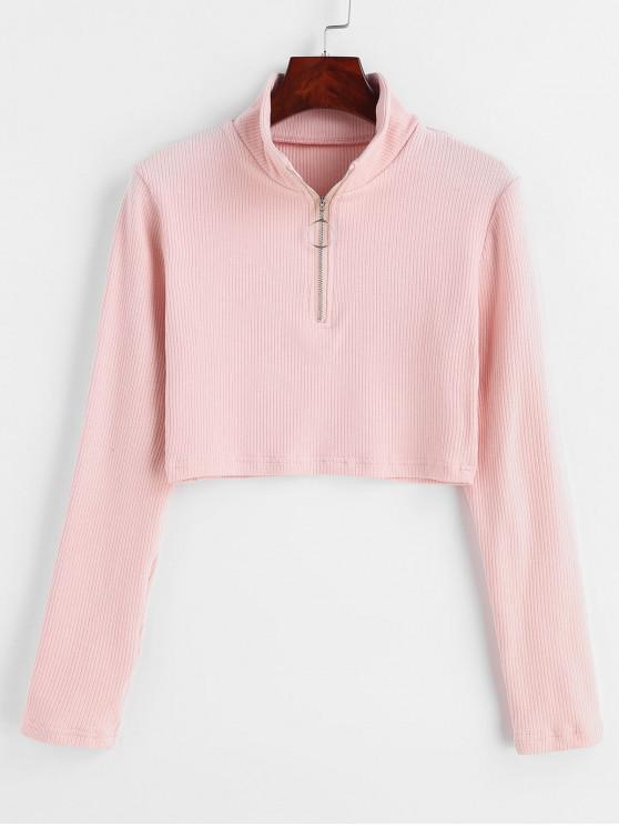 ladies ZAFUL Half Zipper Cropped Ribbed Knit Top - LIGHT PINK L