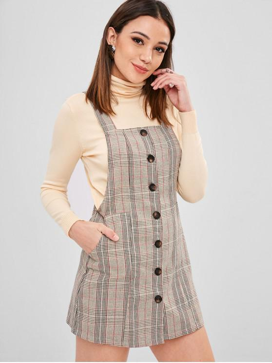 ZAFUL Button Up Plaid Pinafore Dress - Multicolor S