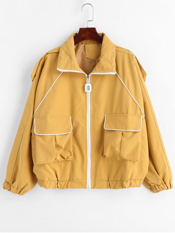 Veste oversize à bordures contrastantes - Moutarde  Taille Unique