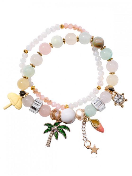shop Layered Beaded Rhinestone Star Pattern Bracelet - MULTI