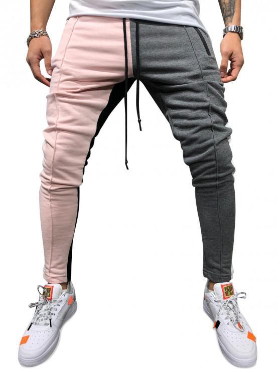 shop Color Block Pockets Drawstring Slim Fit Track Pants - LIGHT PINK M