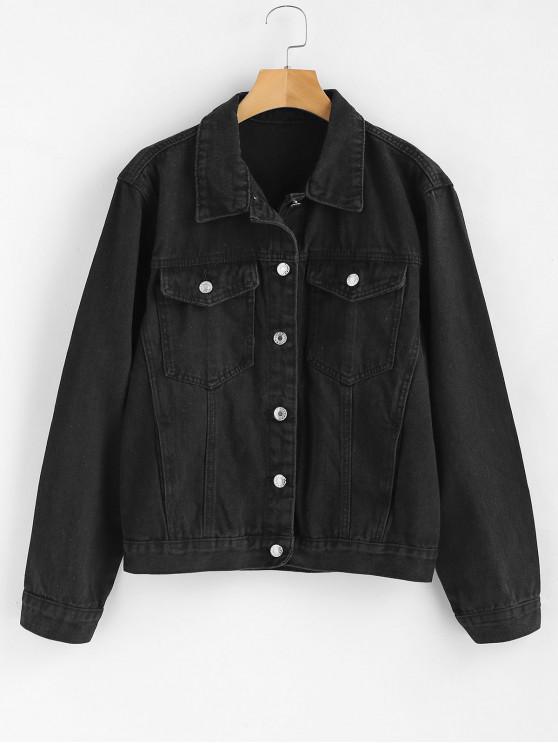 women Front Pockets Jean Jacket - BLACK S