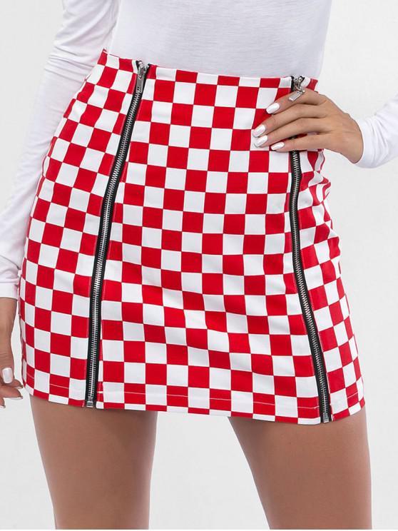 new Zippers Mini Checkered Skirt - RED S