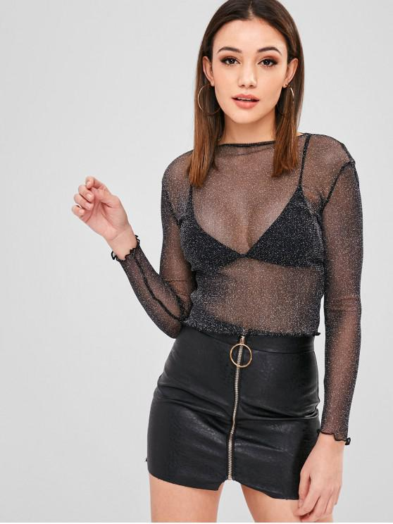 affordable See Through Shiny Top - BLACK S