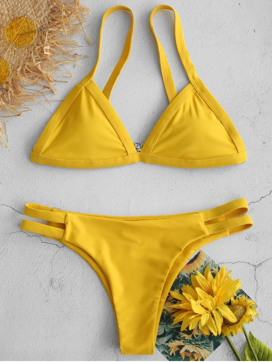 new ZAFUL Hollow Out Low Rise Bikini Set - GOLDEN BROWN M