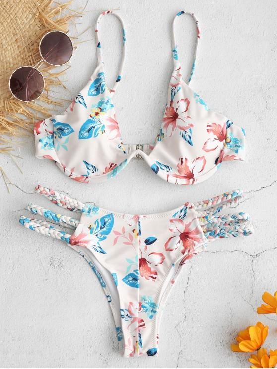 trendy ZAFUL Floral Braided Strappy Underwire Bikini Set - MULTI S