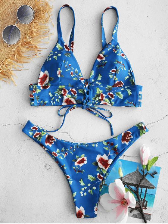 ZAFUL Blumen- Bikini-Set mit Schnürung - Multi S