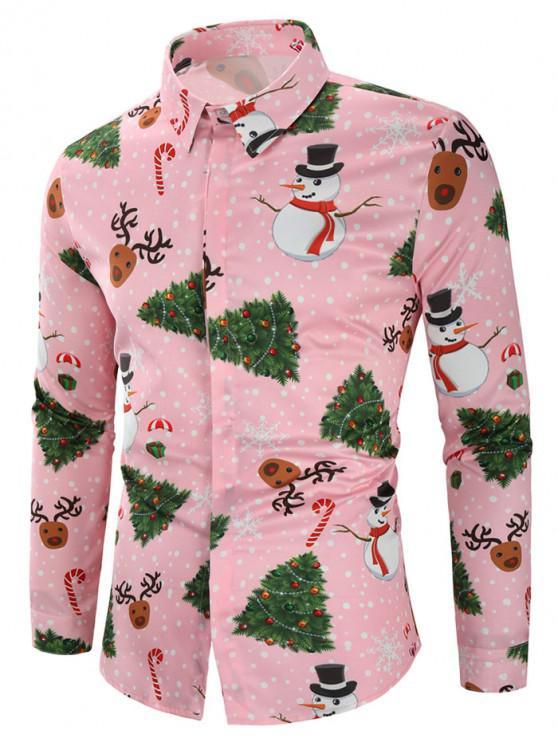 outfits Christmas Snowmen Snoeflakes Tree Candy Print Shirt - PINK L