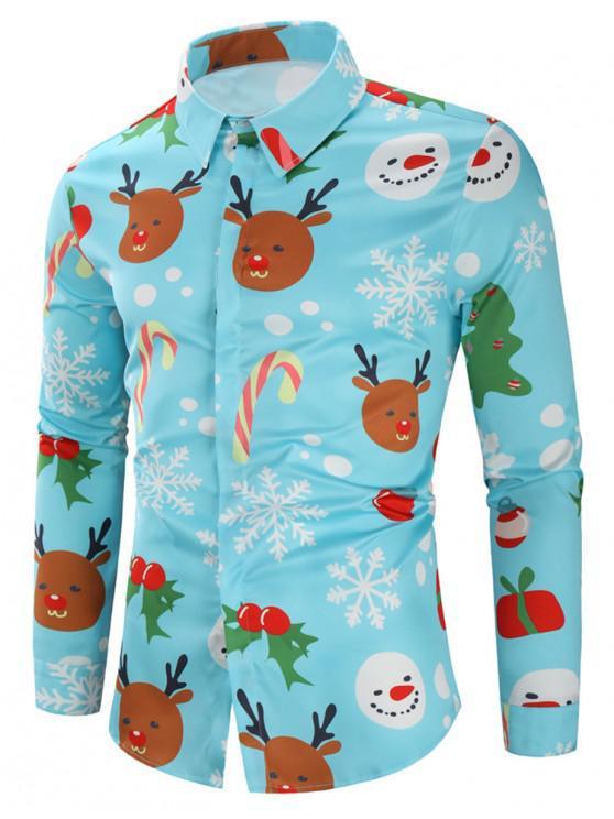 shops Christmas Candy Snowflakes Elk Print Long Sleeves Shirt - BLUE 2XL