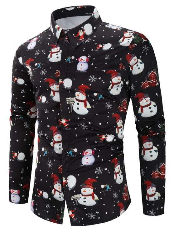 fancy Christmas Snowmen Snowflakes Print Casual Shirt - BLACK M