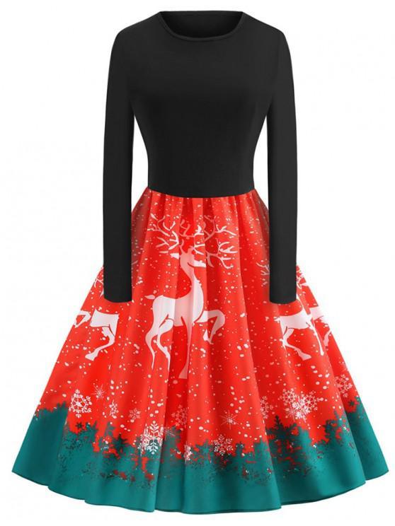 Plus Size Christmas Elk Printed Vintage Flare Dress - roșu 2X