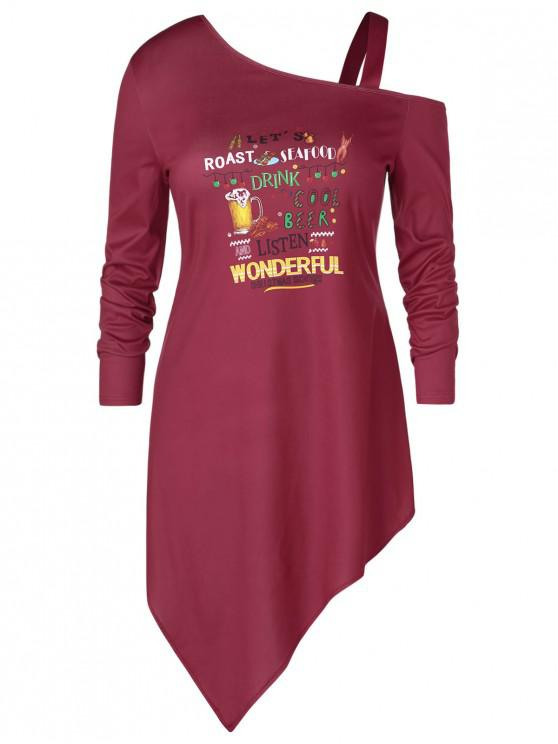 Plus Size Asymmetric Letter Print Graphic Christmas T-shirt - Vin rosu L