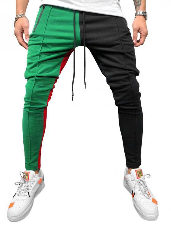 fancy Color Block Pockets Drawstring Slim Fit Track Pants - GREEN L