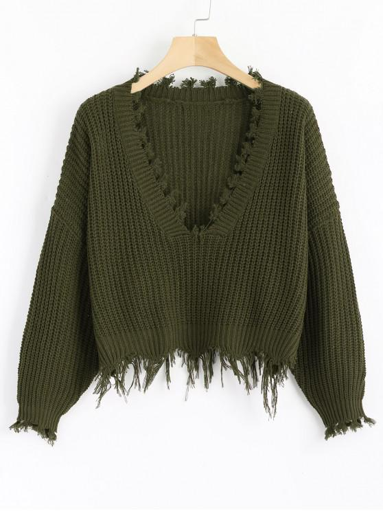lady Loose Ripped V Neck Sweater - ARMY GREEN ONE SIZE