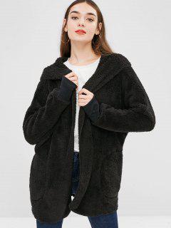 Solid Color Hooded Fluffy Coat - Black L
