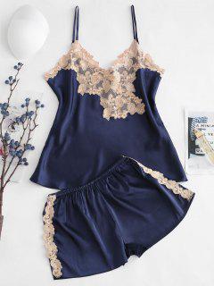 Cami Embroidered Satin Pajamas Set - Lapis Blue M